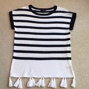Navy and White striped 100% Cotton top